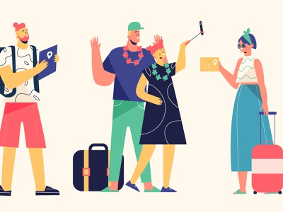 Tourist characters travel tourist vector people people illustration vector illustration lifestyle character illustration
