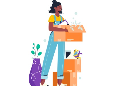 Moving Day moving day girl moving new house moving vector people people illustration vector illustration lifestyle character illustration