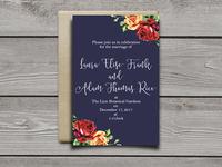 Navy Rose Wedding Invitation