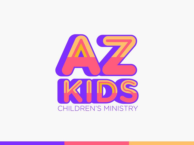 AZ Kids Logo Design happy colorful brand design tipography type branding design brand identity logotype logo branding brand