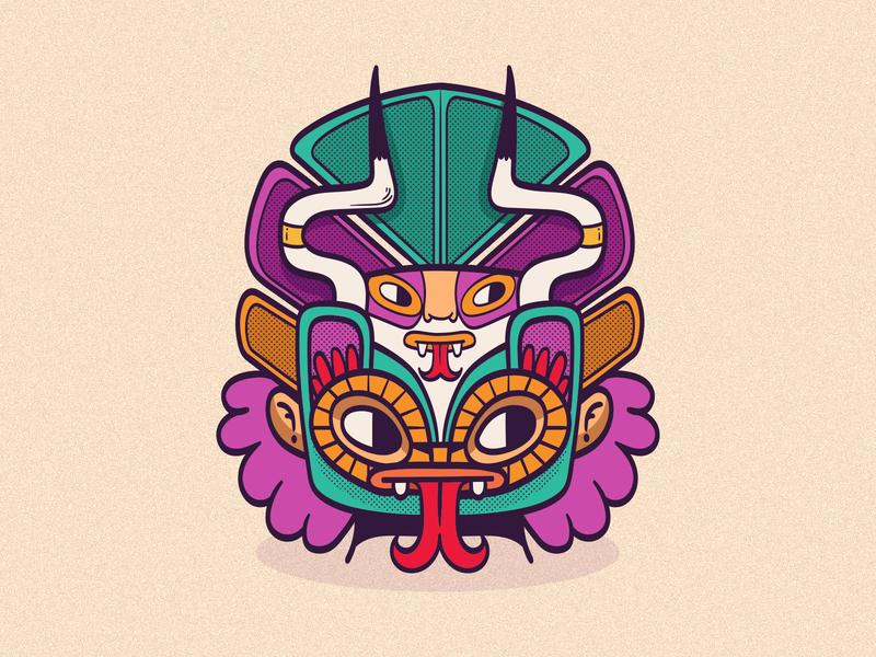 Ceremonial Mask adobe illustrator wacom vector character designer mexican ethnic illustration pattern colorful character design