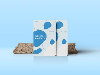 Kinedu weekly planner branding blue vector blob abstract design notebook sketchbook planner