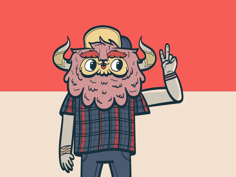Young Monster Dad color adobe illustrator kawaii illustration colorful vector character design character monster