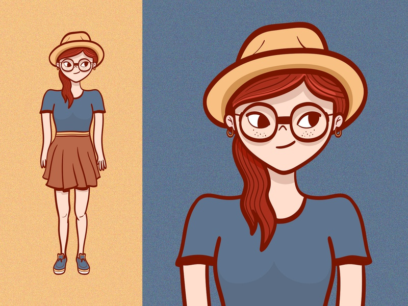 Girl character illustration adobe illustrator colorful vector happy hipster woman girl character character design