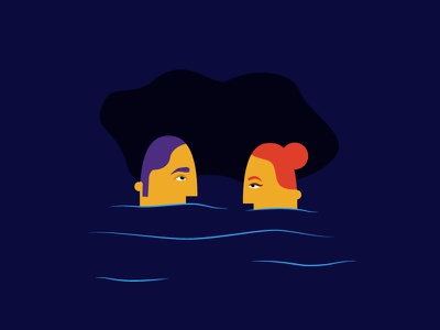 Floaters practice fun float water portrait illustration