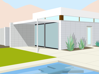 Palm Springs bright architecture practice fun shadow color lines illustration