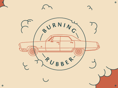 Burning Rubber americana vintage killed random fun linework car illustration