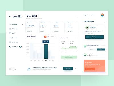 Store Analyst Dashboard settings illustration web cash management transaction details menu sell money desktop mobile statistic minimalist clean analyst store dashboard