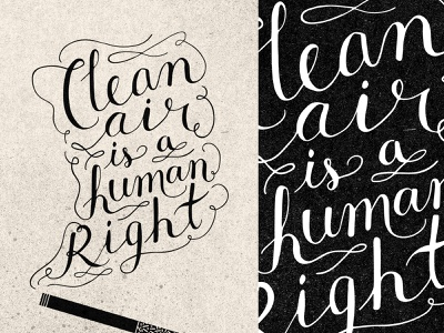 Clean Air Lettering graphic design poster texture hand lettering typography type script handlettering hand drawn smoking cigarette environment earth day earthday