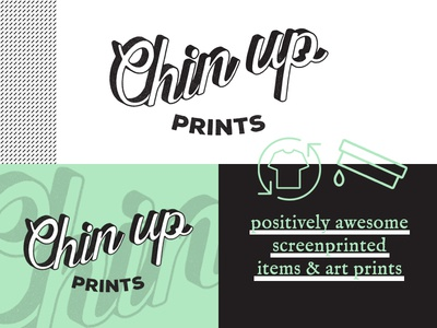 Chin Up! Branding shadow typography type style tile shop etsy pattern green texture handmade branding logo