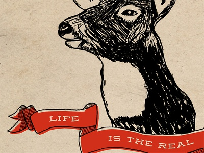 Life is the real trophy tablet hand drawn art print animal rights poster texture red ribbon animal deer print sketch