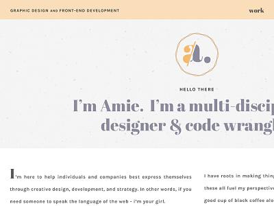 amie.design branding logo mark typography orange purple vintage soft logo personal site personal site portfolio