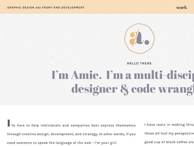 amie.design branding logo mark typography orange purple vintage soft logo personal site personal site portfolio