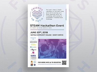 STEAM Event Flyer typography pastel tech hearts feminine soft gradient branding event poster flyer