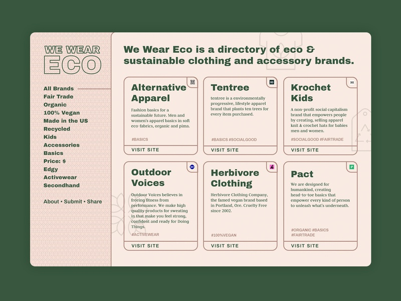 Eco clothing brand directory web design organic vintage retro grid cards ui cards natural one page site one page directory informational environment eco warm web texture ui website