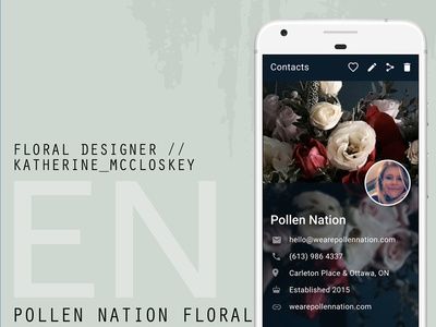 Pn Contact Info phone contact pollen nation ottawa floral flowers profile contacts mobile ui design