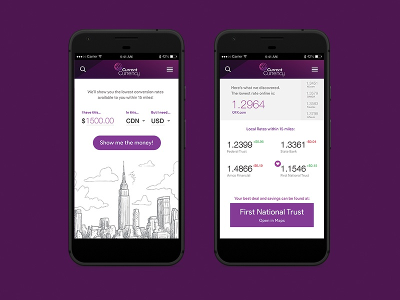 Current Currency visual design ux ui purple ottawa global money app mobile