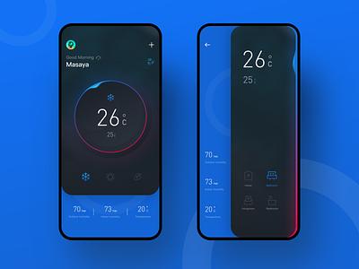 Smart Home circle black temperature air conditioner blue
