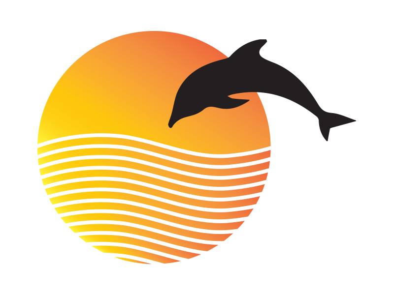 Dolphin sunset playground illustrator graphic minimal dolphin