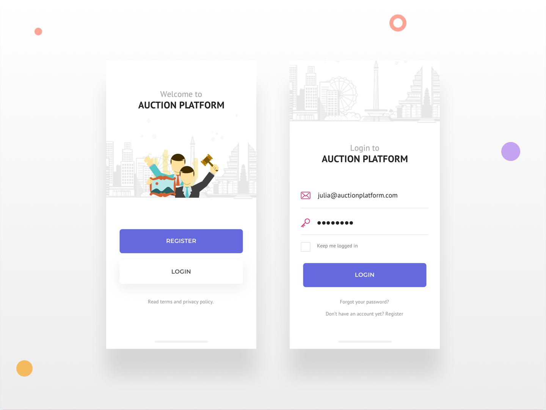 Auction App - Login skecth mobile app design user inteface minimal interface bidding design auction ux android ui app