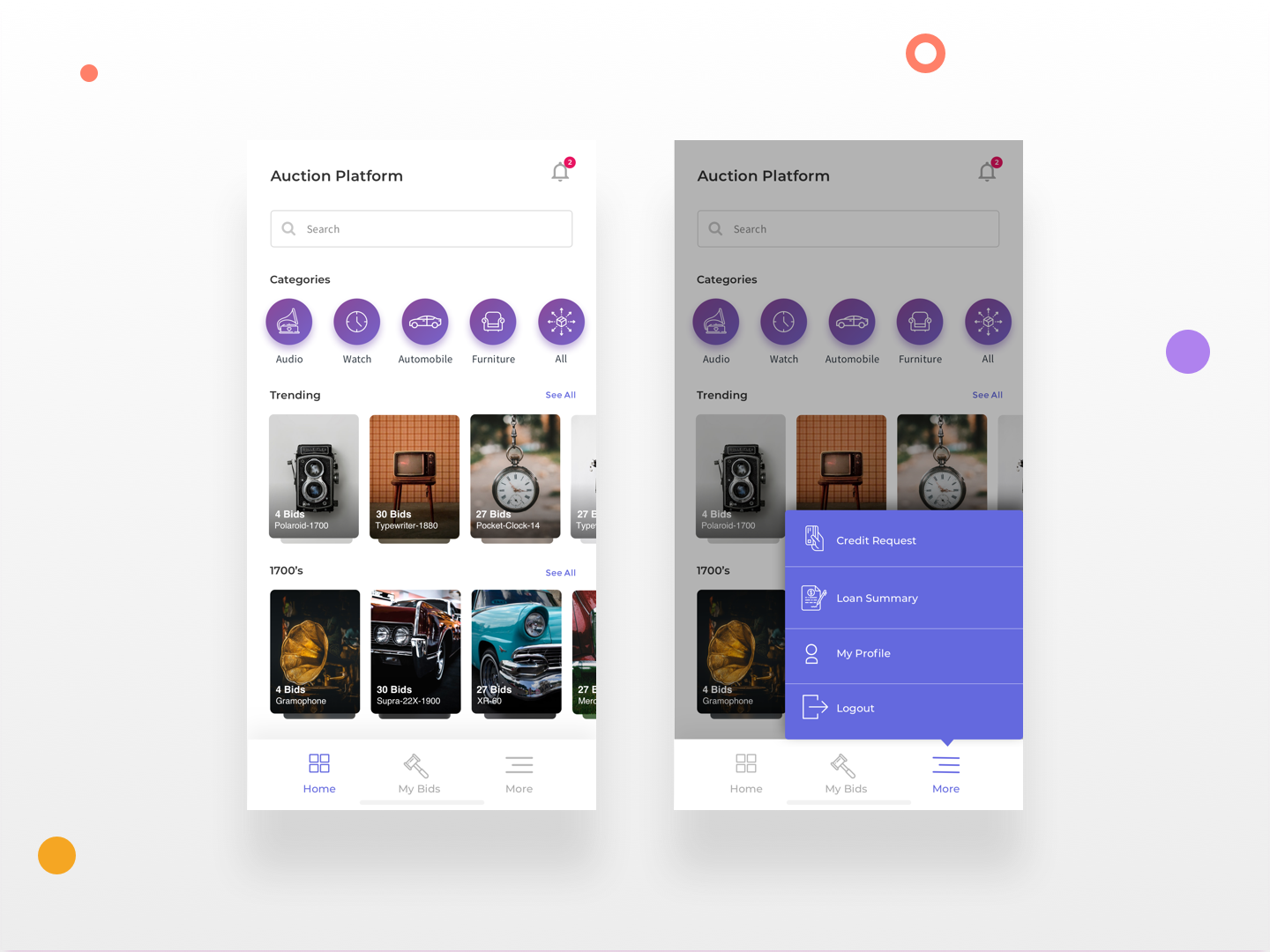 Auction App - Dashboard product side menu antiques dashboad user interface design ux ui minimal illustraion sketch bidding auction android app android