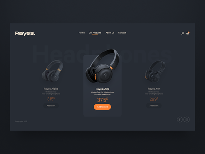 Rayes Headphones Store | Products Page website user interface design cuberto invision adobexd user interface headphones audio webdesign user experience mobile free inspiration psd app ux design ui design ui download