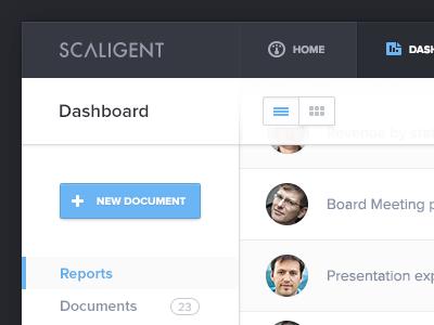 Admin Dashboard dashboard clean white space flat button menu list report document scaligent admin