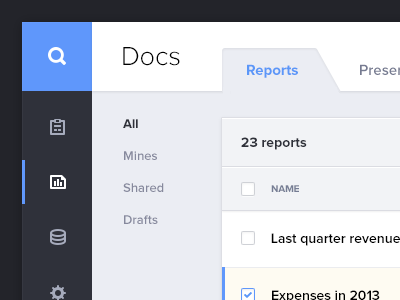 Admin Dashboard interface dashboard clean white minimal icons list table delete checkbox search tabs