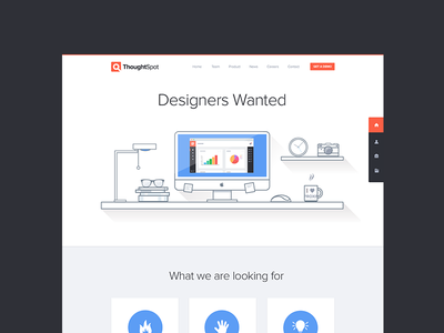 Designers Wanted - Hiring webdesign web website flat minimal white space thoughtspot clean hire contact
