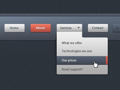 Dropdown menu navigation - UI/UX with CSS3 ui menu submenu button arrow pattern