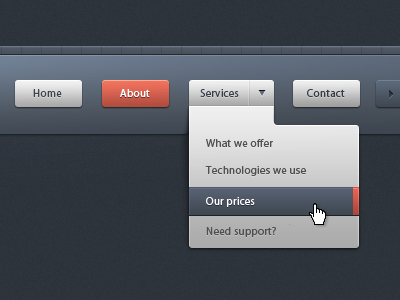 Dropdown menu navigation - UI/UX with CSS3 ui menu submenu button arrow pattern