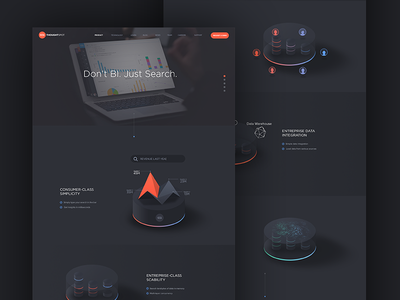 ThoughtSpot - Product page with animated 3D infographics webdesign dark high-tech 3d visualization infographic product gradient animation