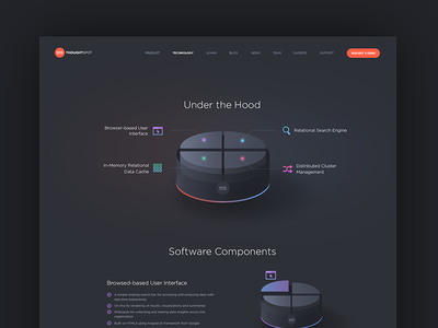 Technology page webdesign dark high-tech 3d visualization infographic product gradient animation
