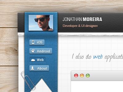 Portfolio - UI/UX with CSS3 ios ui texture pattern torn paper ipad web notebook