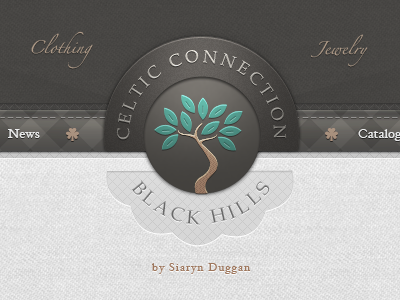 Web clothing shop menu - UI/UX interface texture fabric menu cloth tree leaf celtic irish