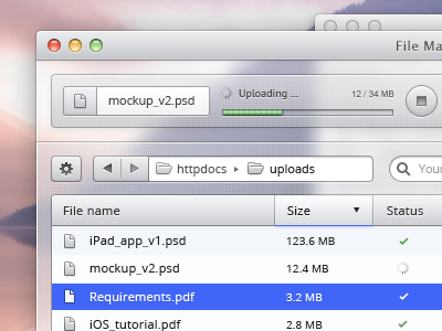 UI experiment osx mac app blurry download upload data stop progress memory loading tableview