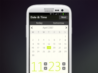 Android date and time picker ui