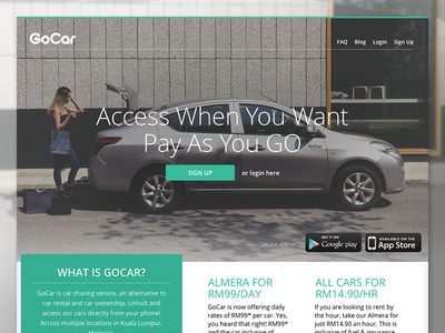 GoCar Landing Page car sharing landing page homepage web website