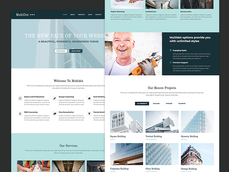Multidot blue flat wordpress webdesign web design website web