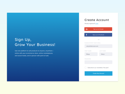 Day 01 - Sign Up sign up adobe xd dailyui