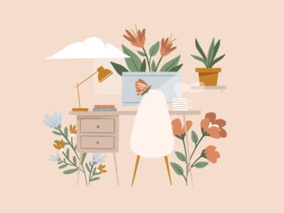 Spring Fever procreate hand drawn desk workspace spring florals flowers illustration illustrator