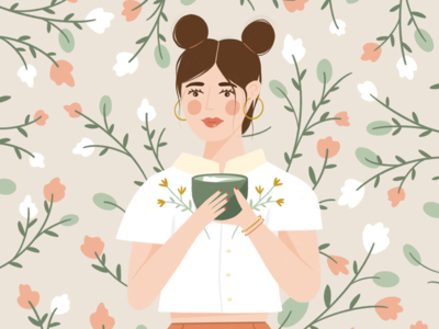 Matcha Monday wallpaper fashion lady coffee flowers floral spring woman people latte matcha graphic design illustration illustrator