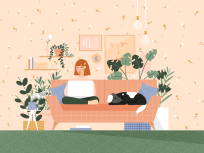 Cozy Cubicles people woman dog furniture apartment couch work from home spring home office graphic design design illustrator illustrations