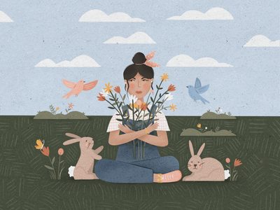 April birds grass clouds woman procreate flowers rabbits people spring graphic design illustration illustrator