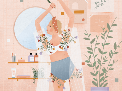No razor no problem texture bathroom lady spring shave people woman apartment flowers graphic design procreate design illustration illustrator