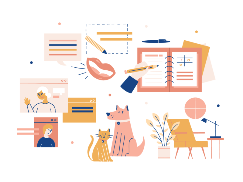 WFH Illustrations infographic pets furniture home wfh seo illustrator graphic design hand drawn procreate design people illustration