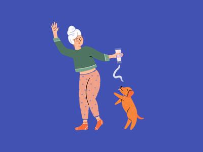 Self Care self love self care dog graphic design lady procreate illustrator hand drawn design people illustration