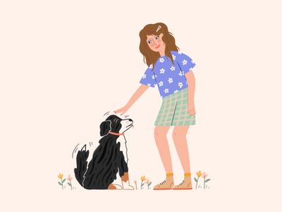 It's Me pet self portrait dog flowers woman illustrator graphic design design procreate hand drawn people illustration