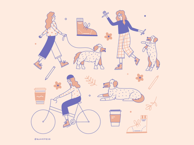 Day to Day shoe routine schedule coffee dog bike woman lady flowers graphic design illustrator people hand drawn procreate design illustration
