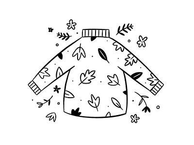 Sweater Weather lineart doodle autumn fall sweater illustrator hand drawn procreate design illustration